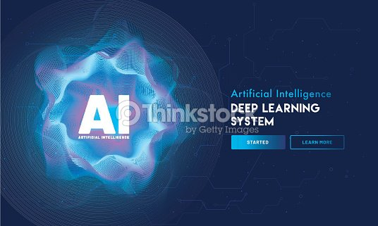 Artificial Intelligence (AI) landing page design, hi-tech blockchain network on neural network background. : stock vector