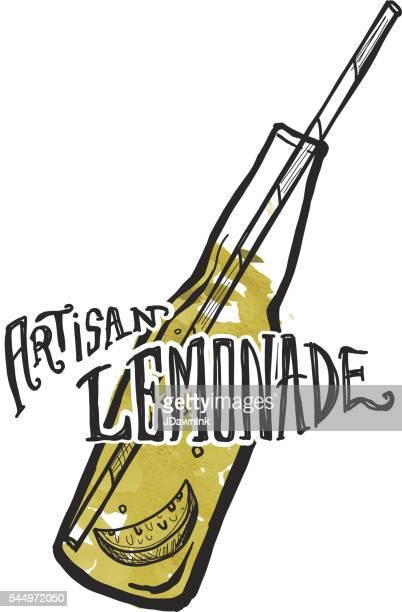 Artisan Lemonade label and bottle on watercolor