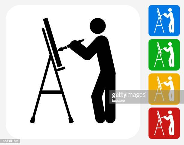 Artist Painting Icon Flat Graphic Design