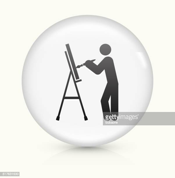 Artist Painting icon on white round vector button