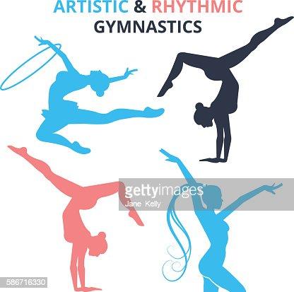Artistic and rhythmic gymnastics women silhouettes set. Vector illustration : stock vector