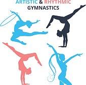 Artistic and rhythmic gymnastics women silhouettes set. Vector illustration