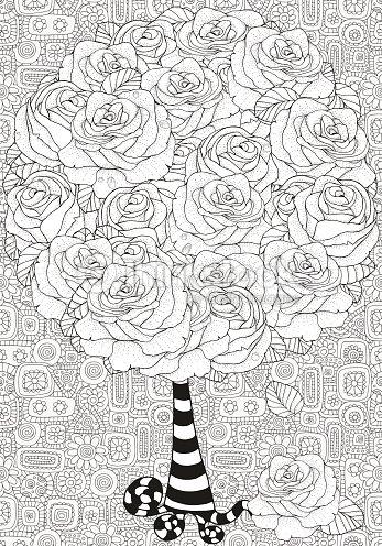 Artística árbol Con Rosas Patrón Para Colorear Libro Arte vectorial ...