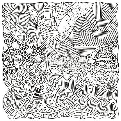 artistically tree zen art patterns sketch by trace vector art