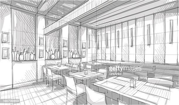 Artists pencil rendering of small restaurant dining area