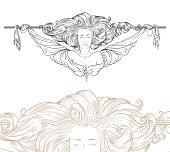 Detailed art-nouveau decorative divider as vintage engraved angel woman, with close up fragment