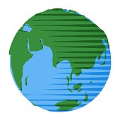 Asia and Australia on flat globe as abstract modern pop art illustration of planet Earth in space