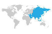 Asia continent blue marked in grey silhouette of World map. Simple flat vector illustration.