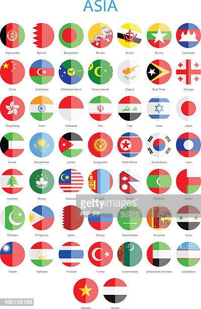 L'Asie à drapeaux ronds-Illustration