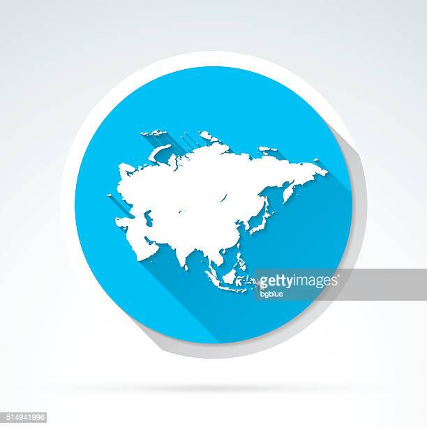 Asia map icon, Flat Design, Long Shadow