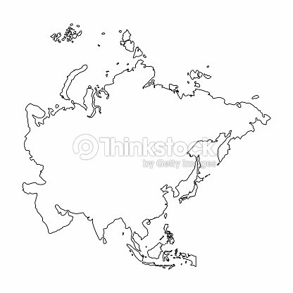 Asia Map Outline Graphic Freehand Drawing On White Background Vector ...