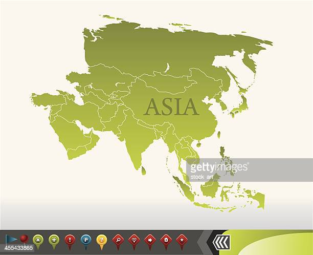 Asia map with navigation icons