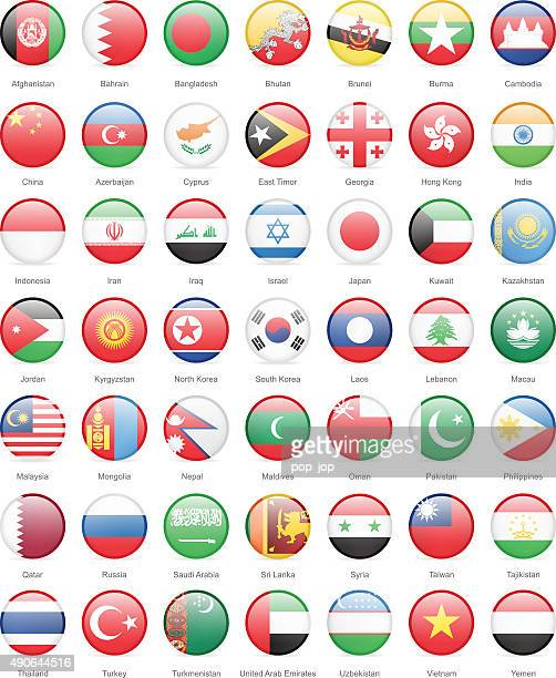 Asie-tour drapeaux-Illustration