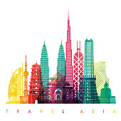 Asia skyline detailed silhouette. Vector illustration. Travel and tourism background
