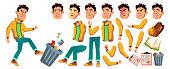 Asian Bad Boy Vector. High School Child. Animation Creation Set. Face Emotions, Gestures. Bad Boy, Emotional, Pose. Print, Invitation Design Illustration