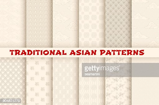 Asian Chinese Japanese vector seamless patterns : stock vector