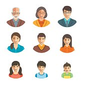 Asian family happy faces. Vector flat avatars. People generation simple icons. Mother, father and adult, teen and little kids. Japanese, Chinese portraits. Young, senior men and women, boys, girls and