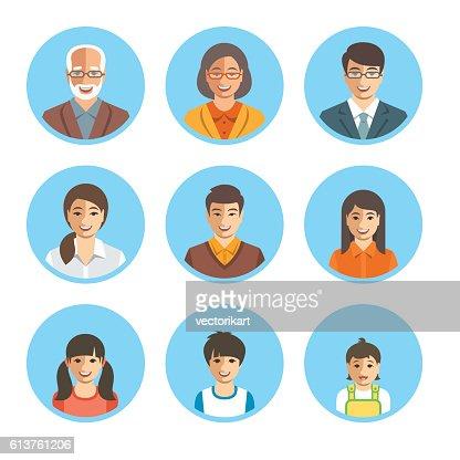 Asian family happy faces flat avatars set : Vector Art