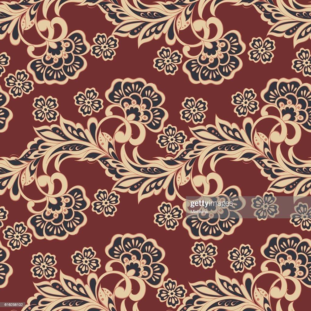 asian floral seamless pattern. vector background : Arte vetorial
