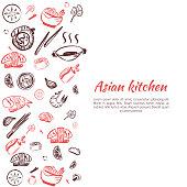 Asian food background. Doodle Japanese cuisine poster frame for restaurant menu. Vector illustration.