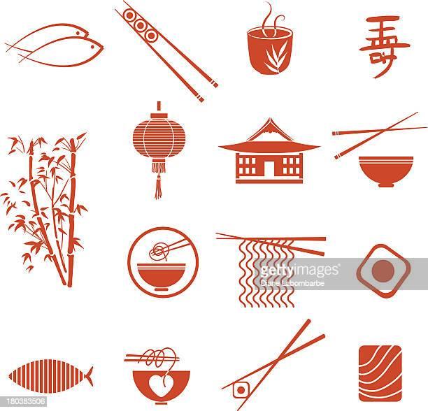 Icônes de cuisine asiatique