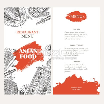Asian Food Menu Template Linear Graphic Vector Illustration Vector