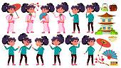 Asian Girl Kid Poses Set Vector. Primary School Child. Kimono, Sakura, Umbrella. Beauty. Expression, Happy Childhood, Positive Person. For Banner, Flyer Brochure Design Isolated Illustration