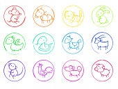 Asian horoscope hand drawn with felt-tip pens 12 icons set
