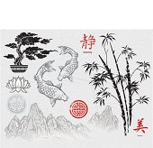 A compilation of asian-themed design elements. These all draw upon the asian tradition of dry brush ink painting. It includes a bonzai tree, lotus, koi fish,bamboo, mountain landscapes as well as  med