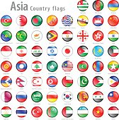 Hi detail vector shiny buttons with all Asian flags. Every flag is isolated on it's own layer, each properly named with its country name.
