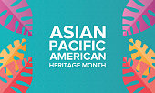 Asian Pacific American Heritage Month. Celebrated in May. It celebrates the culture, traditions, and history of Asian Americans and Pacific Islanders in the United States. Poster, card, banner and bac