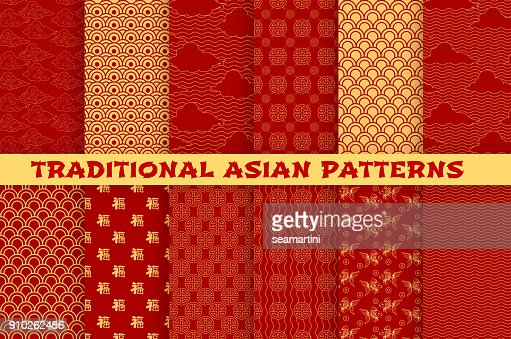 Asian seamless pattern of oriental golden ornament : stock vector