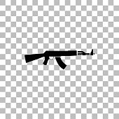 Assault rifle. Black flat icon on a transparent background. Pictogram for your project