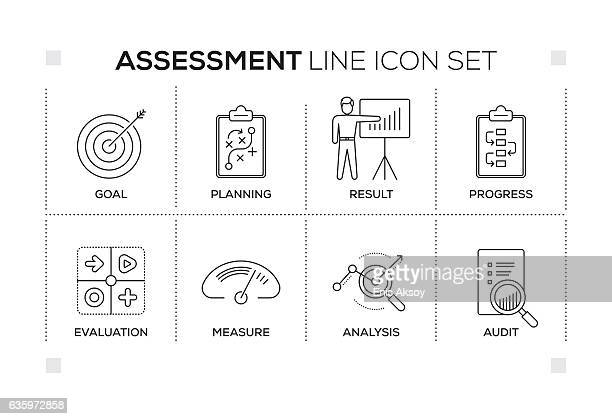 Assessment keywords with monochrome line icons
