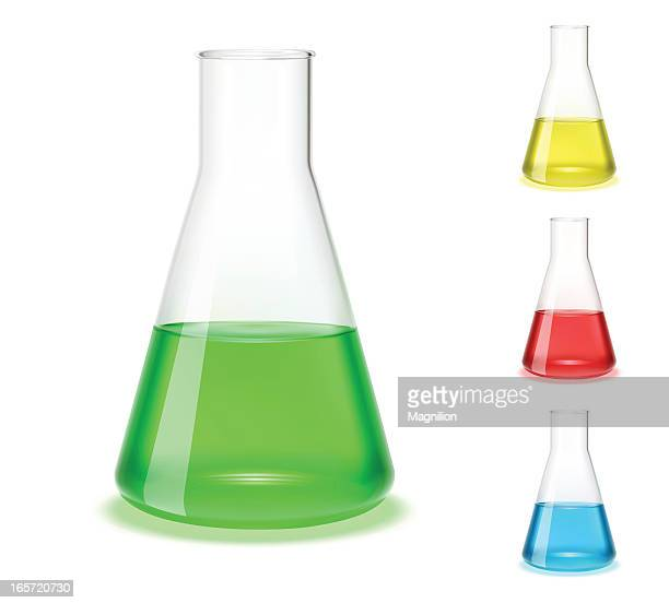 Assorted colored laboratory flasks