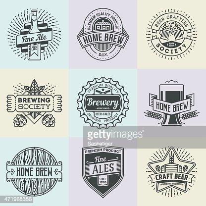 Assorted Retro Design Insignias Logotypes Home Brewery Set 2