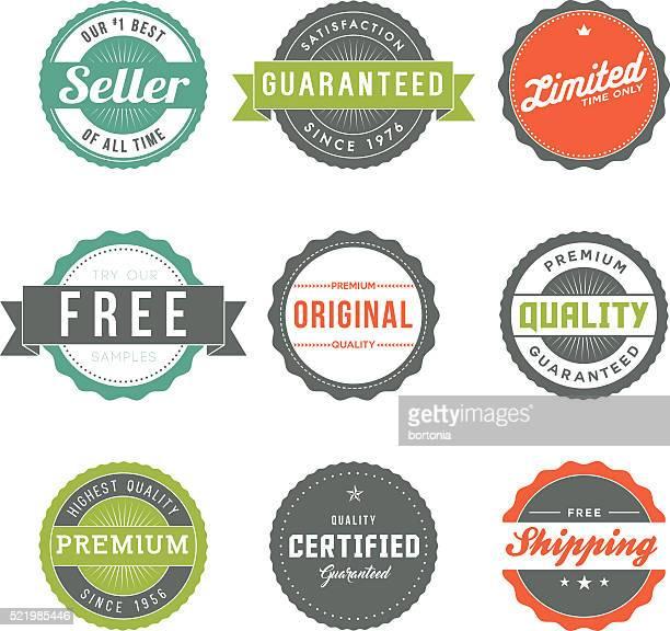 Surtido de Retro etiquetas conjunto de iconos De marketing de producto