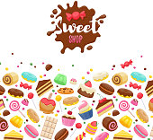 Assorted sweets colorful background with chocolate splash drop blot. Lollipops, cake, macarons, chocolate bar, candies and donut. Good for poster cover menu card confectionery pastry-shop design.