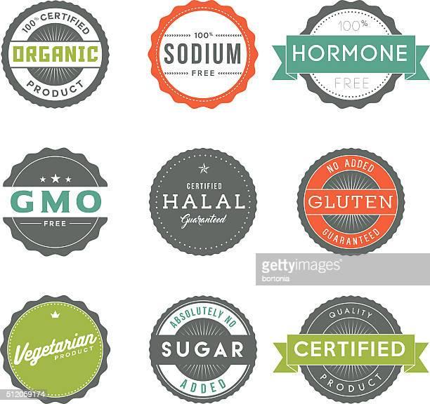 Verschiedene Jahrgang Etiketten Lebensmittel Informationen Symbol-Set