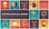 Astrological signs - set of flat design infographics elements. Horoscope square colorful icons. Leo, gemini, cancer, capricorn, sagittarius, aquarius, pisces, libra, taurus, aries, scorpio, virgo