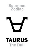 Astrology Alphabet: TAURUS (The Bull), constellation Taurus. Sign of Supreme Zodiac (Internal circle). Hieroglyphic character (persian symbol).