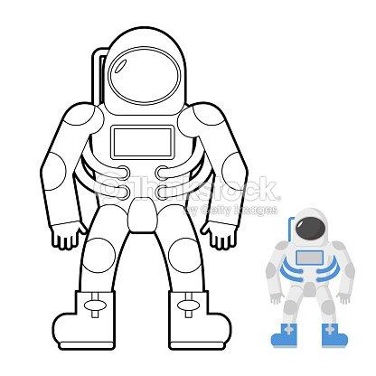 Astronauta Libro Para Colorear Vector Ilustración De Un Espacio ...