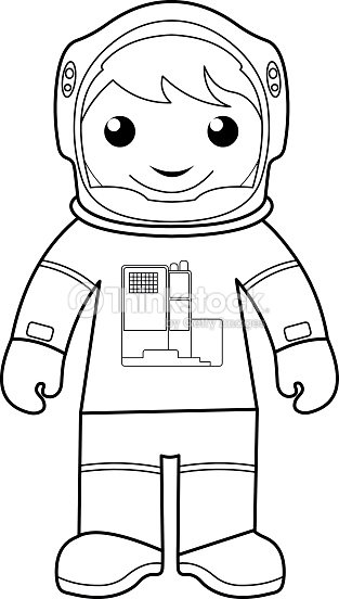 astronaut coloring page for kids vector art