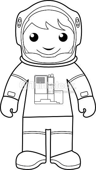 Astronauta De Colorear Página Para Niños Arte vectorial | Thinkstock