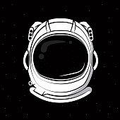 Astronaut helmet over black background vector clothing design