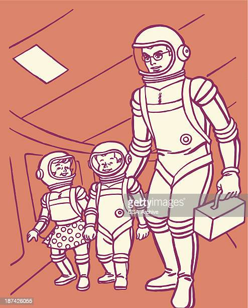 Astronaut in Space Ship with Children