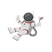 Funny cartoon astronaut isolated on white background