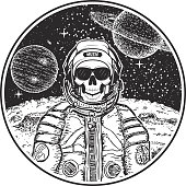 Astronaut music skull vector hand drawn illustration. Human skull in hat, sunglasses and spacesuit listening to music. Modern t-shirt design template.
