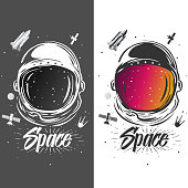 Astronaut suit art. Space illustration. Symbol of space travel, scientific research. Astronaut t-shirt design. Spaceman exploring new planets