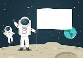 Astronaut holding blank flag on the moon